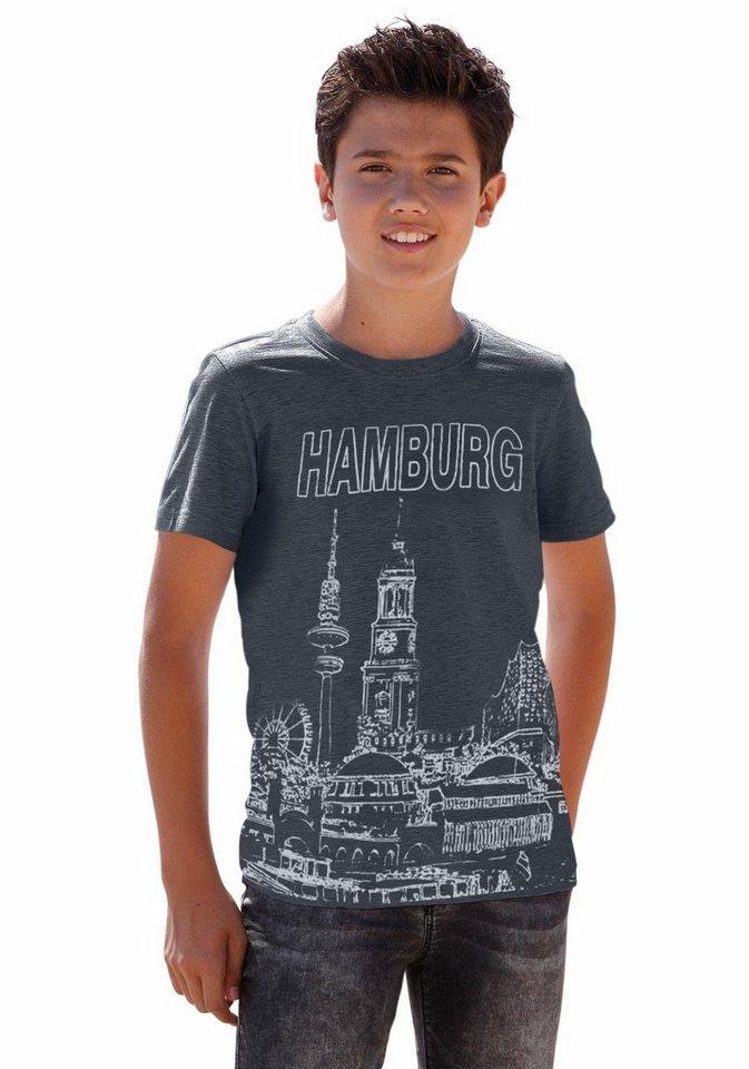 """Arizona T-Shirt """"Hamburg"""" in marine-meliert"""