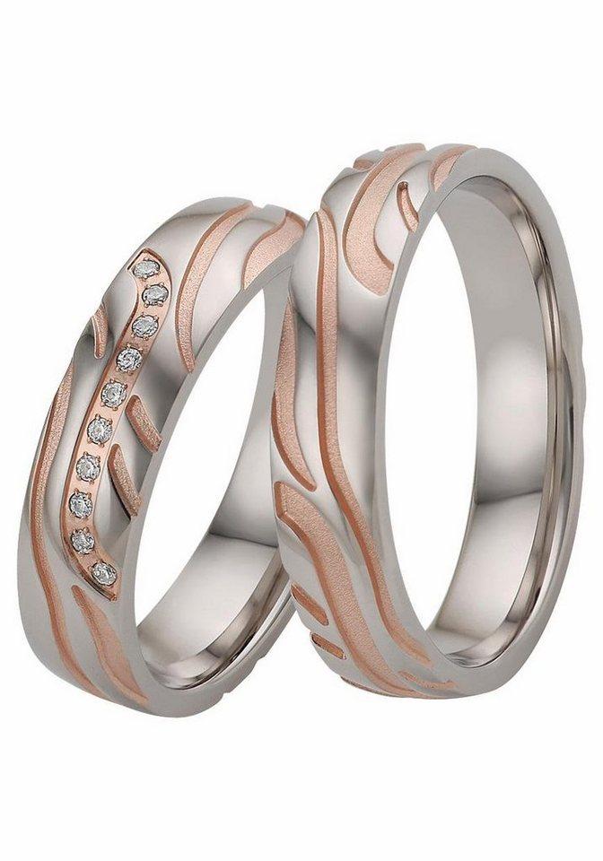 Firetti Trauring wahlweise mit oder ohne Zirkonia in Silber 925-roségoldfarben