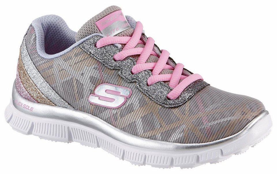 Skechers Kids Sneaker mit Glitzerapplikationen in silberfarben