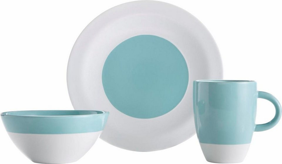 Frühstück-Set, Steingut, 12 Teile in blau/weiß