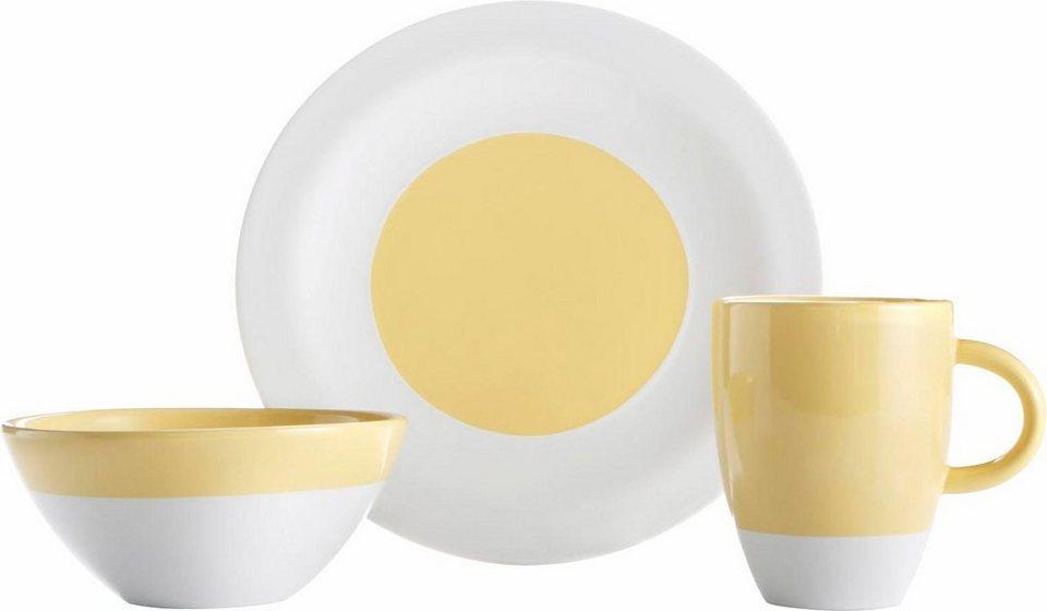 Frühstück-Set, Steingut, 12 Teile in gelb/weiß