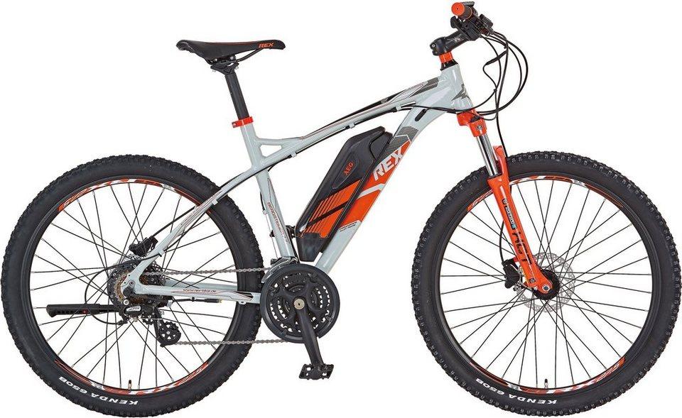 REX MTB-E-Bike, 27,5 Zoll, 36V/250W HR-Motor, 24 G. Shimano Kettenschaltung, »Bergsteiger 7700« in schlamm grau
