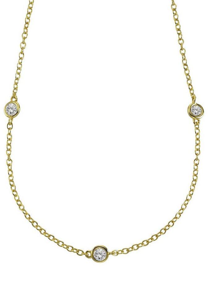 Firetti Silberkette mit Zirkonia in Silber 925-goldfarben