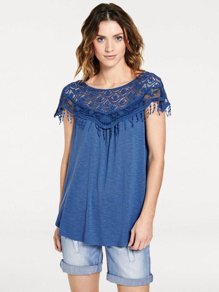 heine CASUAL Spitzenshirt mit Rundhalsausschnitt | Bekleidung > Shirts > Spitzenshirts | Blau | Jersey - Polyamid | heine