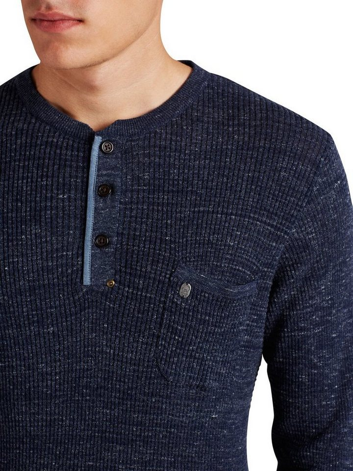 Jack & Jones Grandad-Kragen Pullover in Total Eclipse