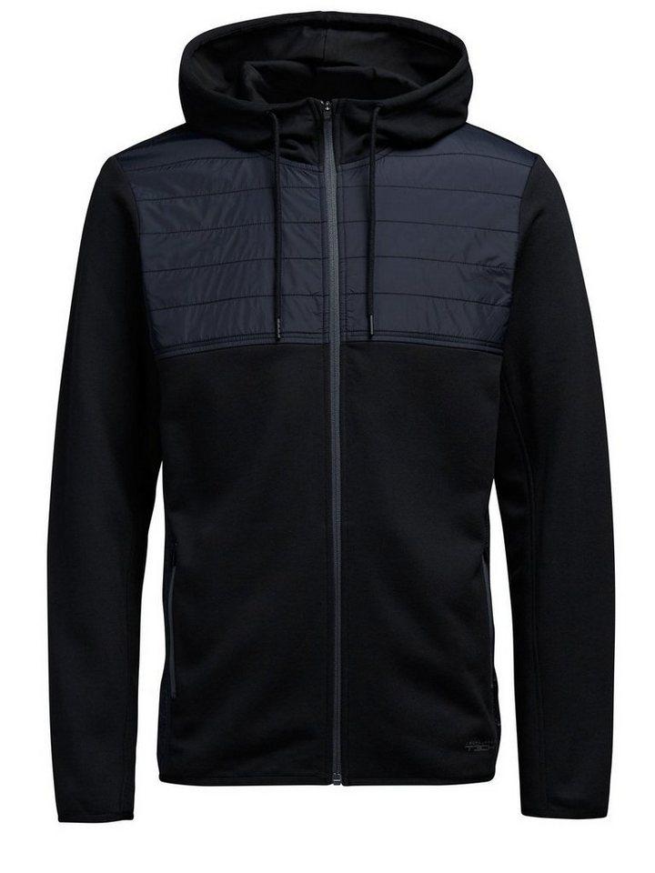 Jack & Jones Hybrid- Sweatshirt mit Reißverschluss in Black