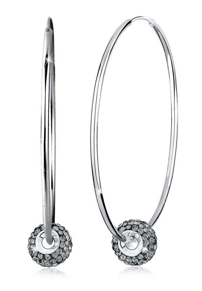 Elli Ohrringe »Creolen Swarovski Kristalle 925 Silber« in Grau