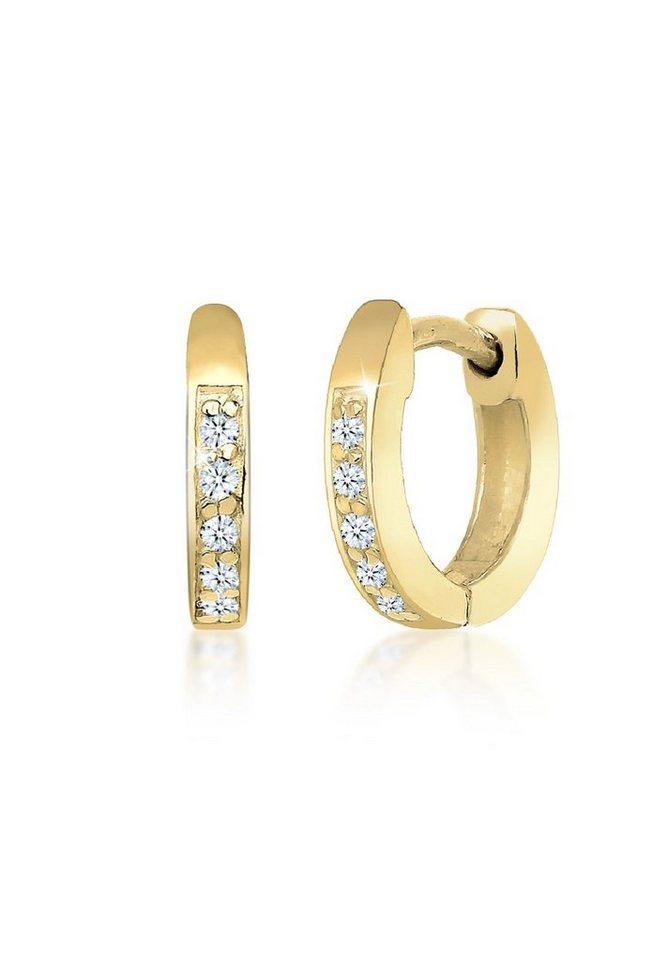 Elli Ohrringe »Creolen Basic Klassisch Diamant 375 Gelbgold« in Weiß