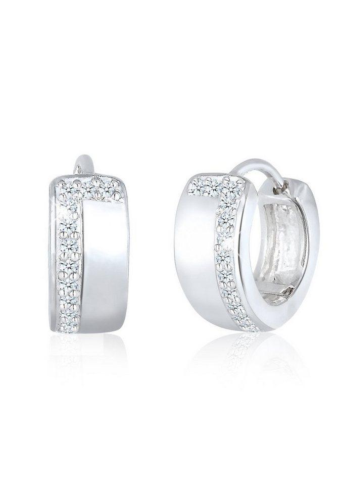 Diamore Ohrringe »Creolen Rund Diamant 925 Sterling Silber« in Weiß
