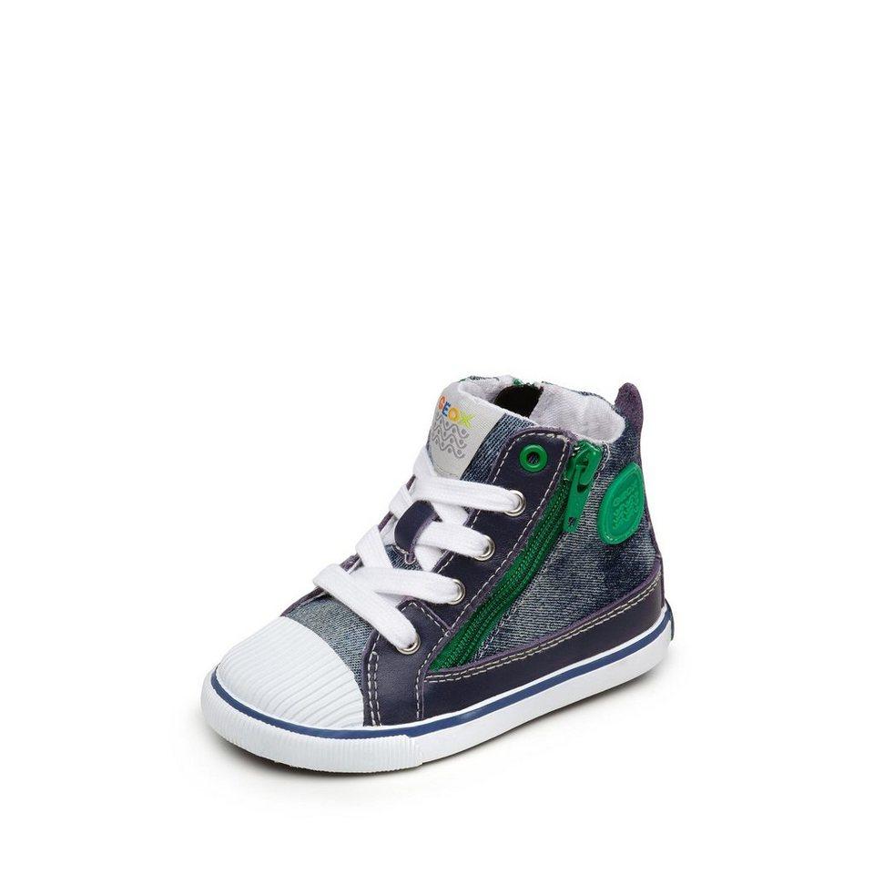 Geox Kiwi Boy Lauflernschnürbootie in jeansblau/grün
