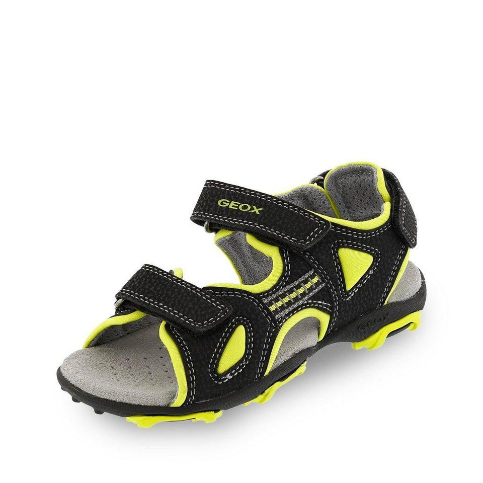 Geox Fresh Sandale in schwarz/neongrün