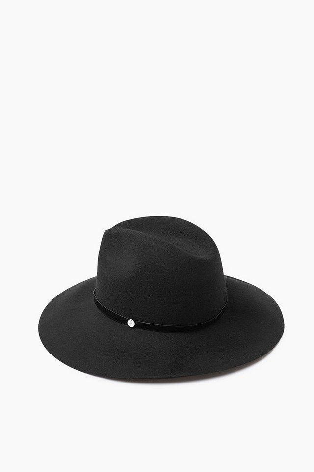 ESPRIT CASUAL Fedora Filzhut mit Samtband, 100% Wolle in BLACK