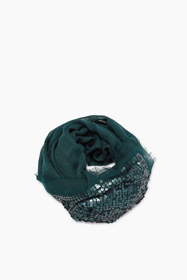 ESPRIT CASUAL Wolle/Seide Webtuch mit Pailletten-Glanz in BOTTLE GREEN