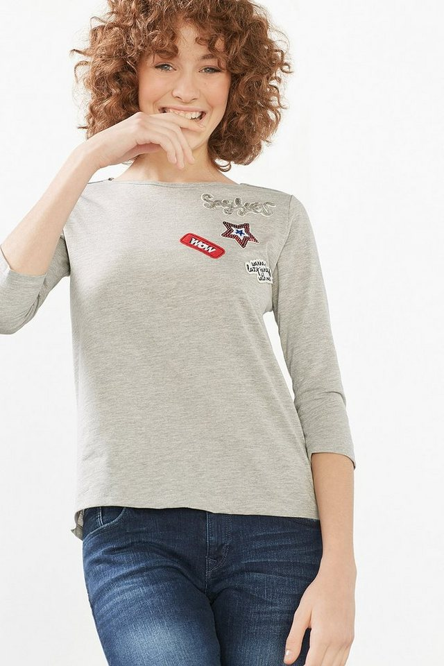EDC Shirt mit schillernden Patches in MEDIUM GREY