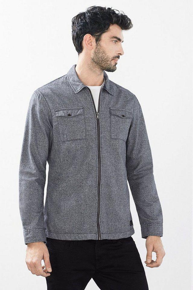 EDC Melierte Hemdjacke aus Baumwolle in DARK GREY