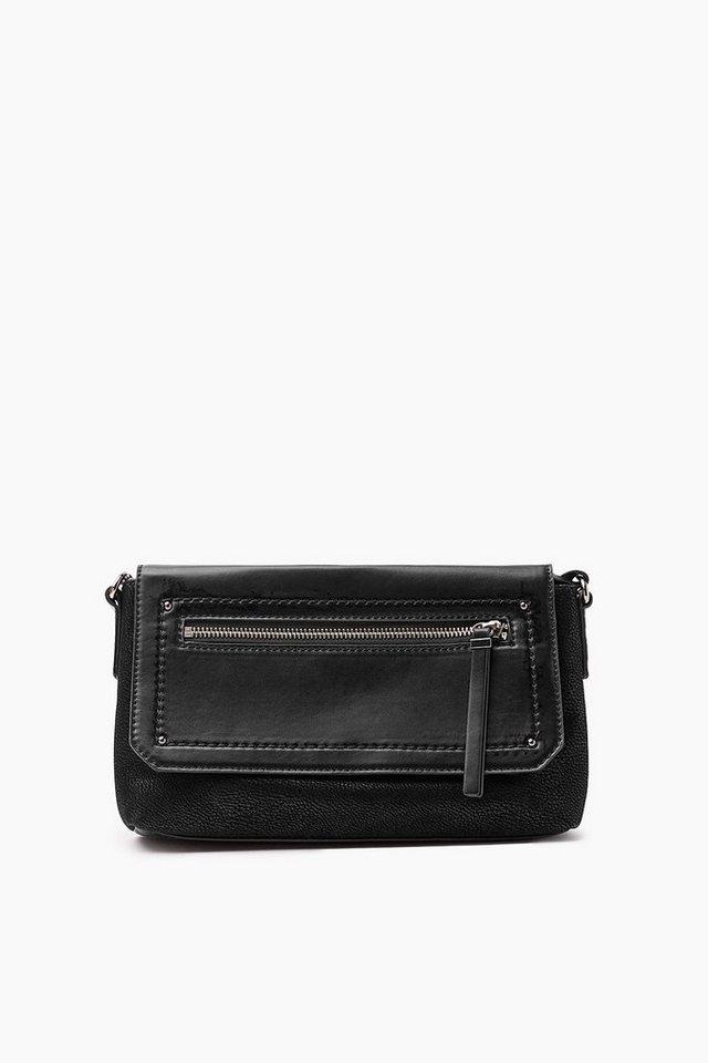 ESPRIT CASUAL Schultertasche, Material-Mix im Leder-Look in BLACK