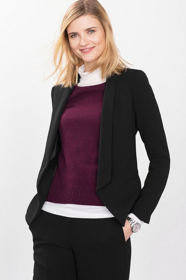 ESPRIT COLLECTION Crepe Blazer mit Smoking-Revers in BLACK