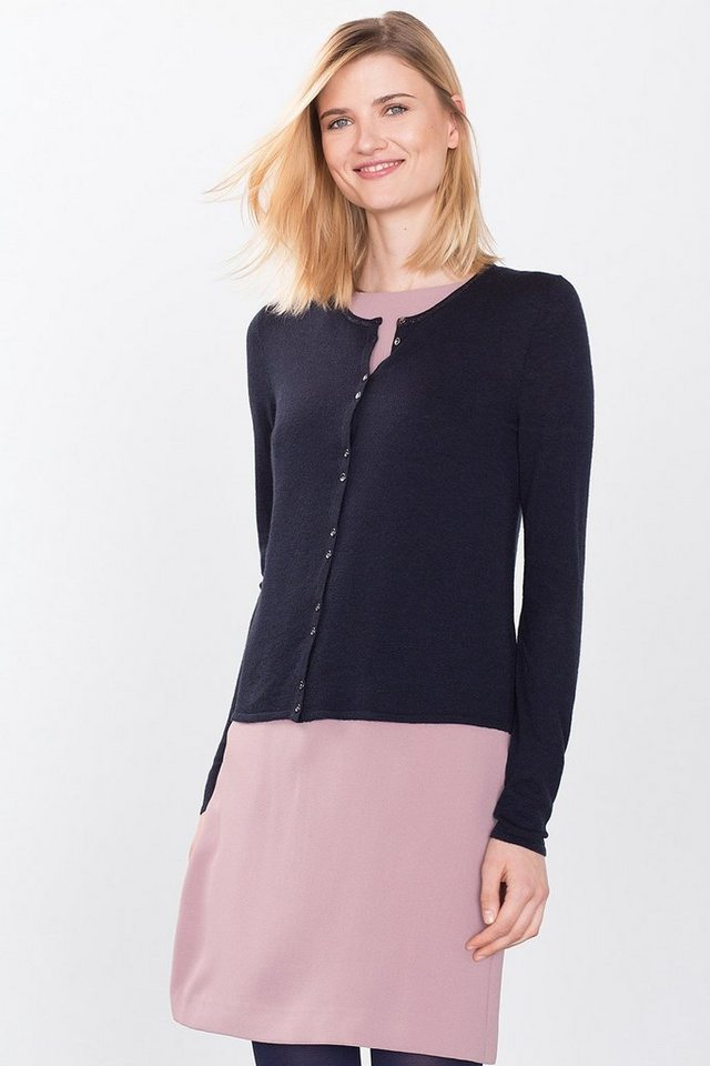 ESPRIT COLLECTION Zarter Feinstrick-Cardigan mit Glanz in NAVY
