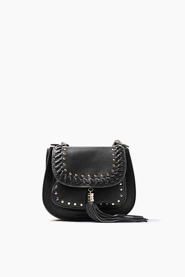 ESPRIT CASUAL Tasche in Lederoptik mit Nieten und Quaste in BLACK
