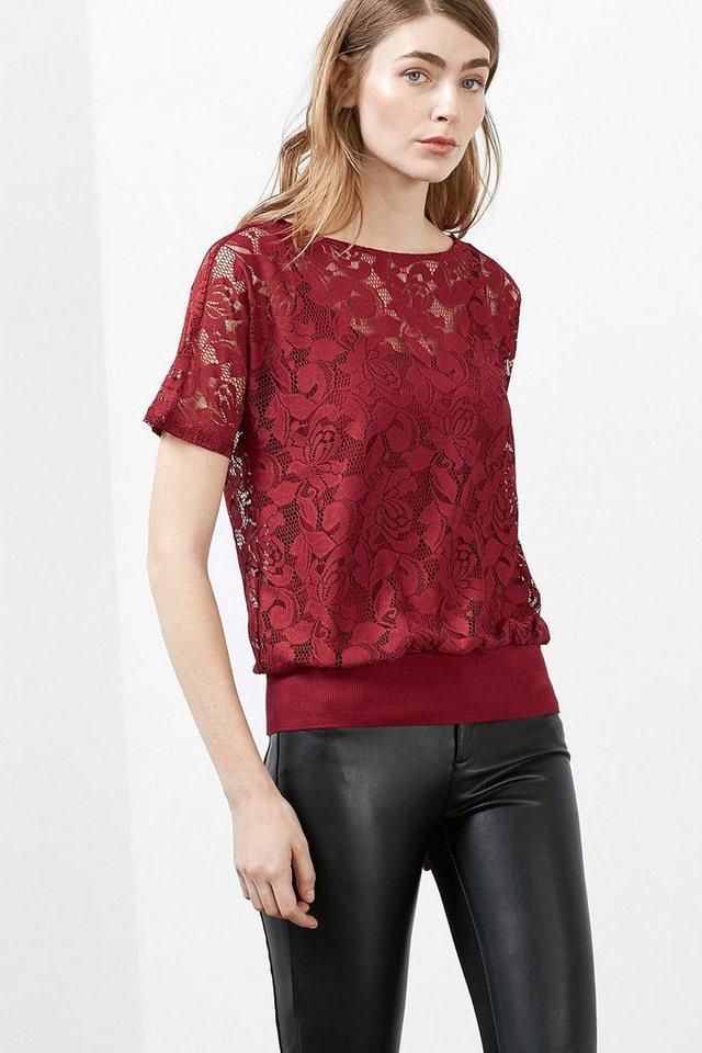EDC Shirt aus floraler Spitze in DARK RED