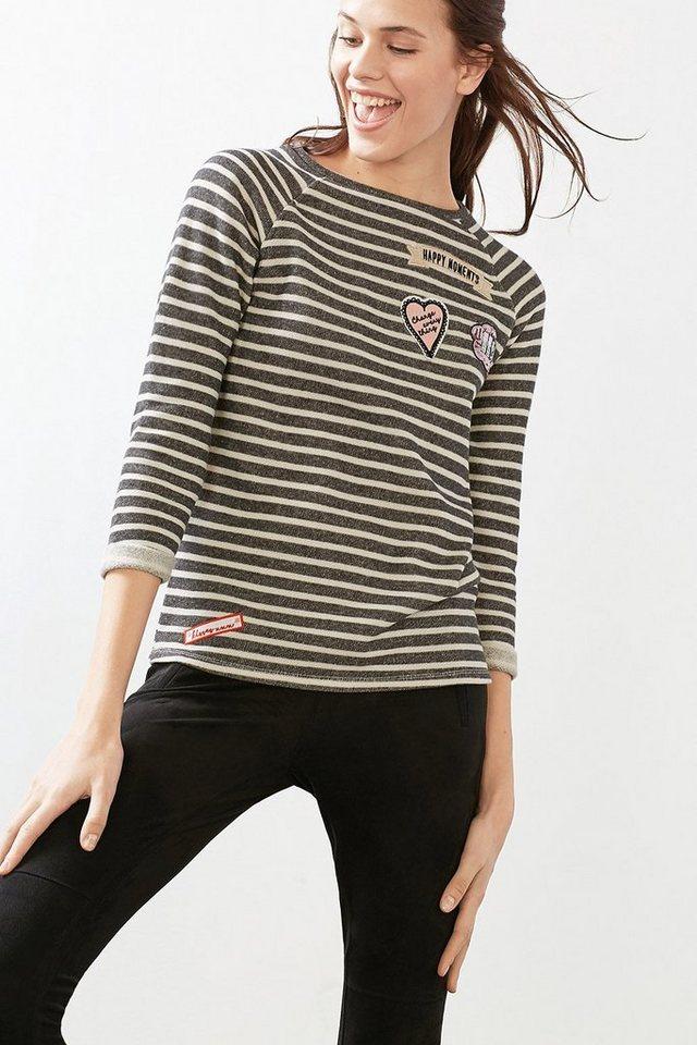 EDC Sweatshirt mit Patches, 100% BW in ANTHRACITE
