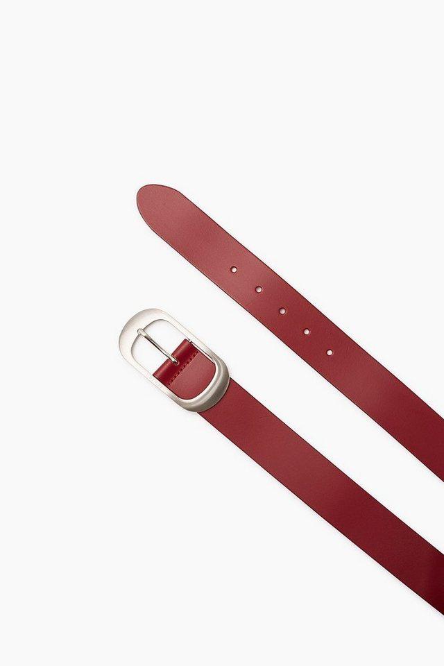 ESPRIT CASUAL Breiter Gürtel aus glattem Rindsleder in GARNET RED