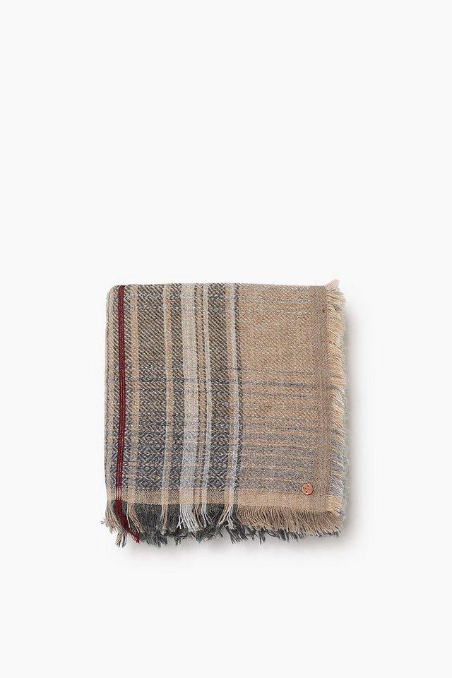 ESPRIT CASUAL Großes Karotuch aus weichem Woll-Mix in GREY
