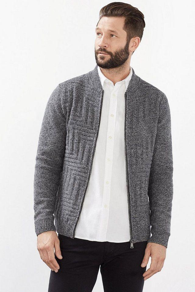ESPRIT COLLECTION Woll-Mix Strickjacke mit Zipp und Ripp in GREY