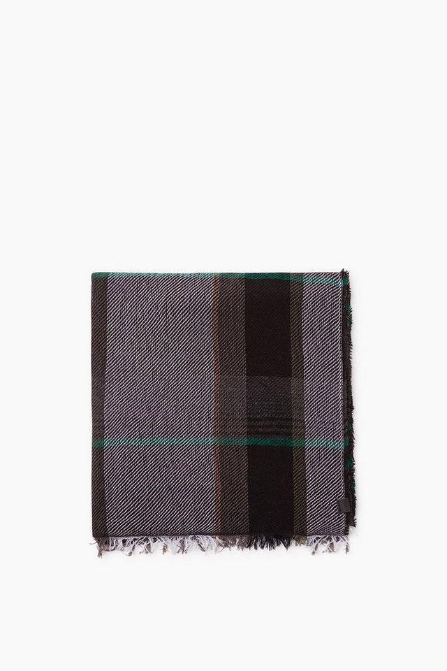 ESPRIT CASUAL Karo Webschal aus weichem Baumwoll-Mix in BLACK