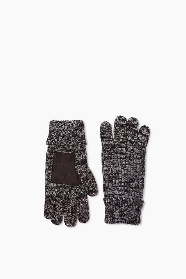 ESPRIT CASUAL Touchscreen Strickhandschuhe mit Besatz in BLACK