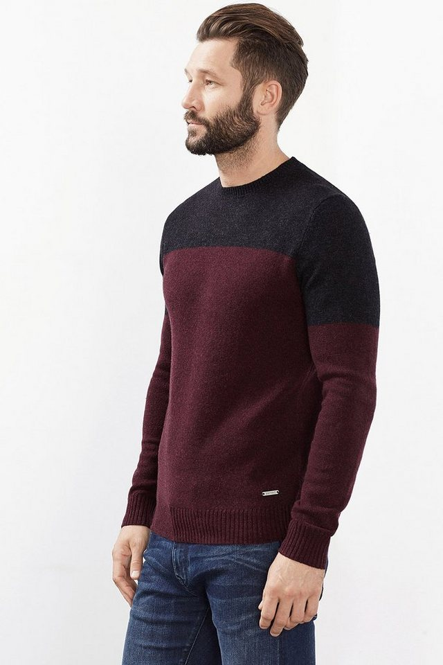 ESPRIT CASUAL Colorblock Pullover aus warmem Woll-Mix in BORDEAUX RED