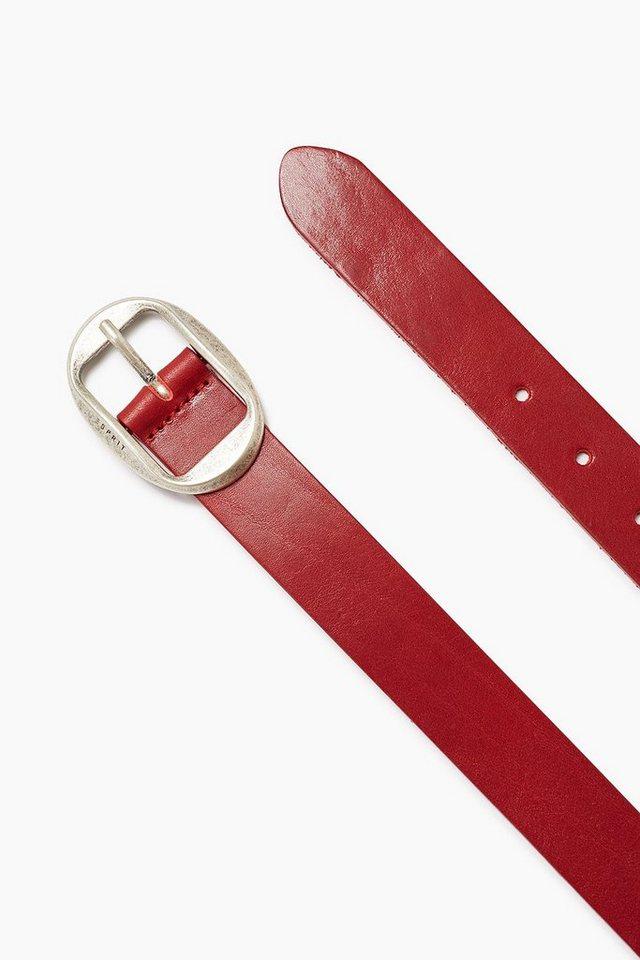 ESPRIT CASUAL Weicher Gürtel aus glattem Rindsleder in GARNET RED