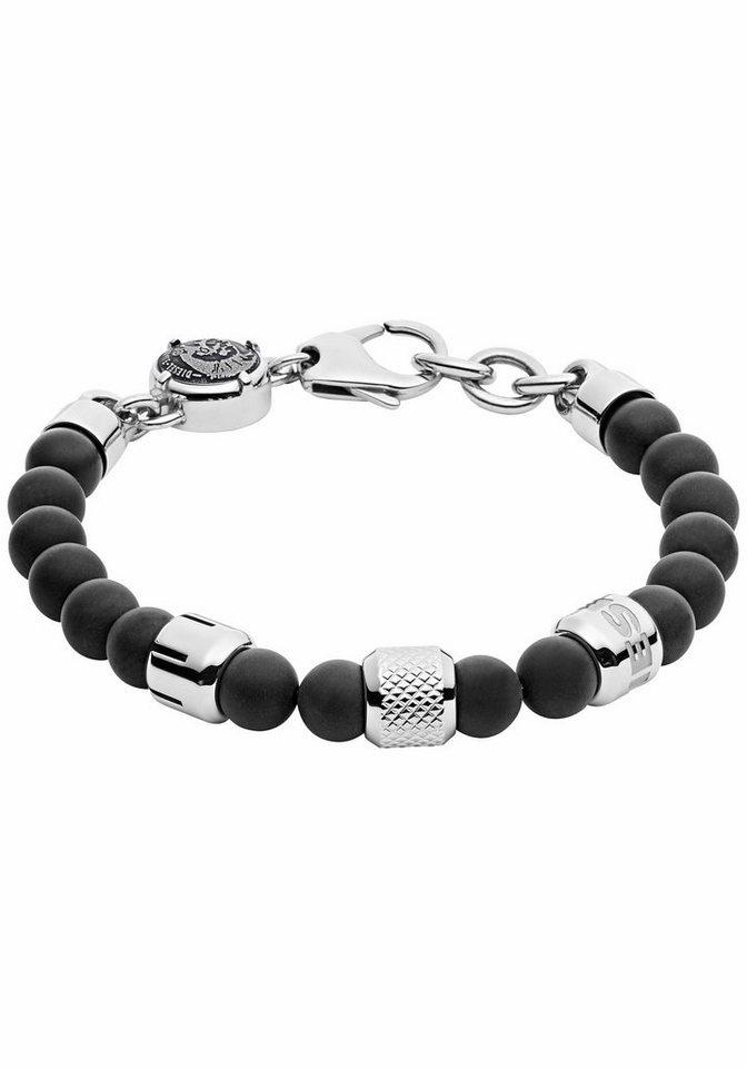 Diesel Armband »Crank, DX1023040« mit Achaten in silberfarben-schwarz