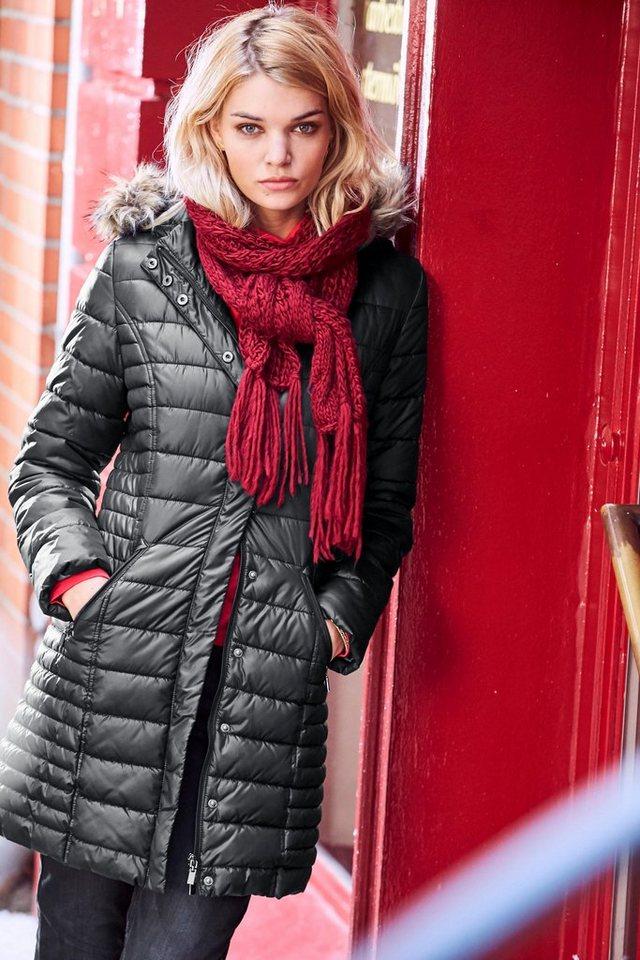 Aniston Steppmantel mit abnehmbarer Kapuze in schwarz