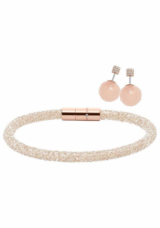 Fossil Schmuckset »Fashion, JF02520791« Doubleface, mit schimmernden Glassteinen in roségoldfarben-nude