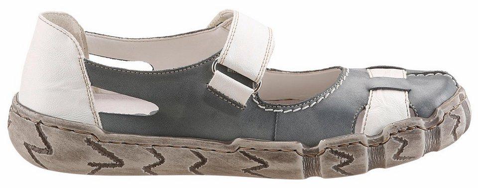 Rieker Slipper mit luftigen Cut-Outs in graublau-weiß