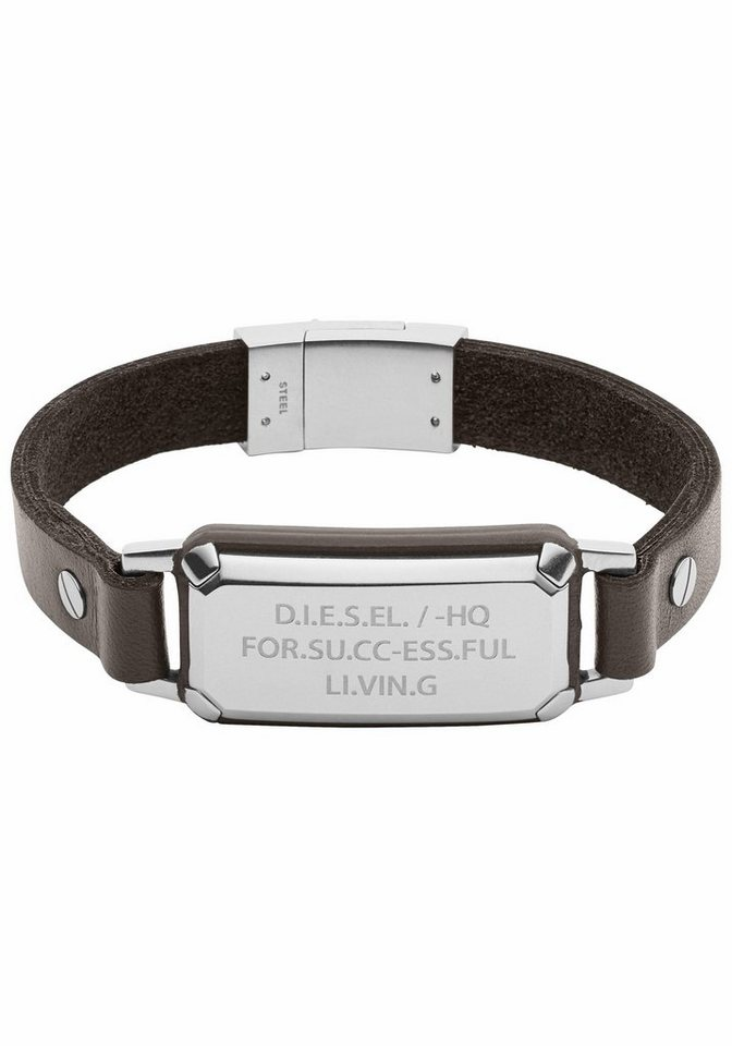 Diesel Lederarmband »Leather Spec, DX1018040« in silberfarben-braun