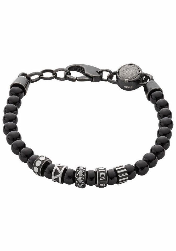 Diesel Armband »Etnik, DX0961001« mit Achaten in grau-schwarz