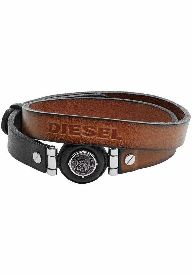 Diesel Lederarmband »Leather Spec, DX1021040« in silberfarben-braun-schwarz
