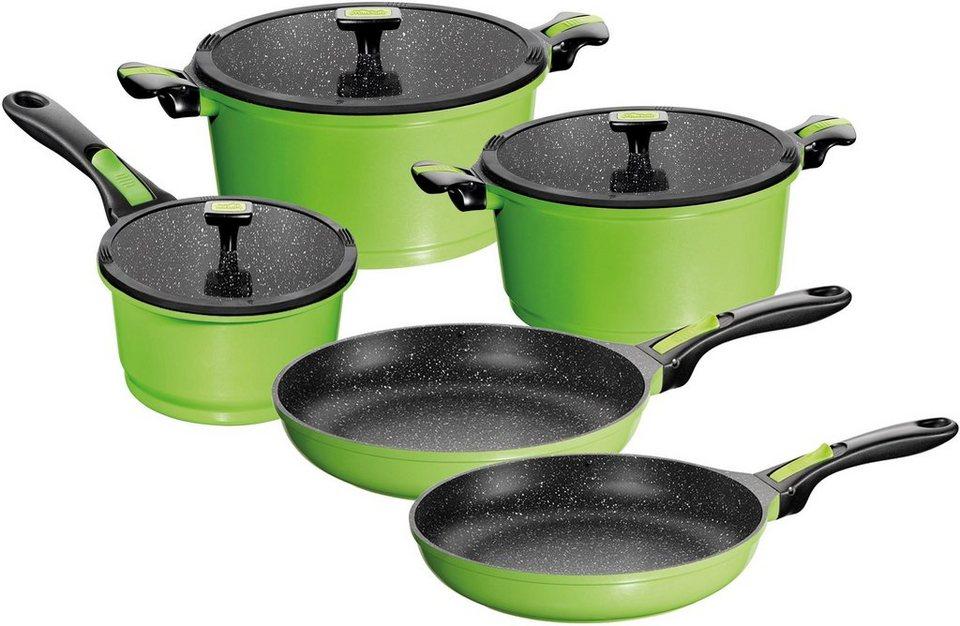 STONELINE® Kochgeschirr, Aluminiumguss, Induktion (8tlg.) in grün/schwarz