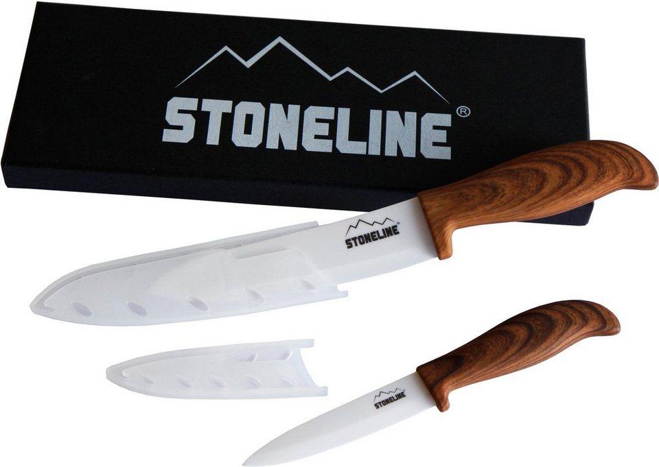 STONELINE® Keramikmesser Set (2tlg.) in braun/silberfarben