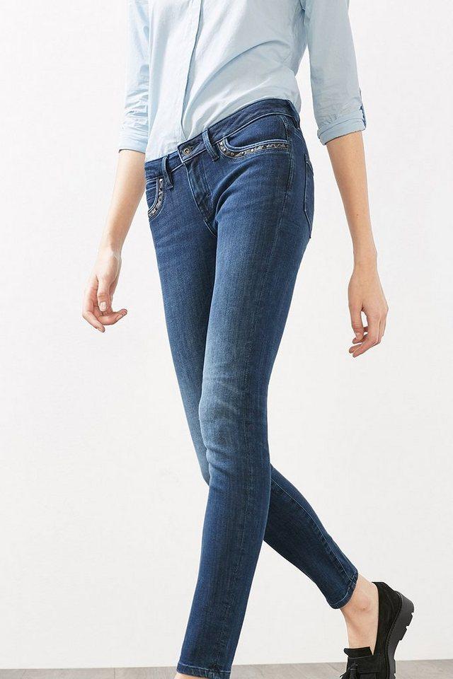 EDC Nieten-verzierte Stretch-Jeans in BLUE MEDIUM WASHED