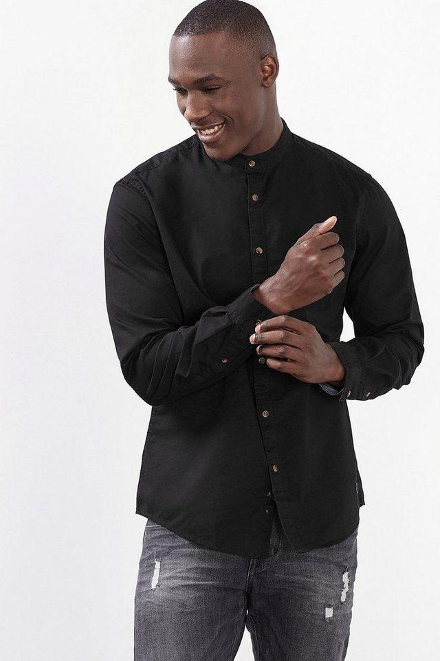 EDC Baumwollhemd mit Stehkragen in BLACK