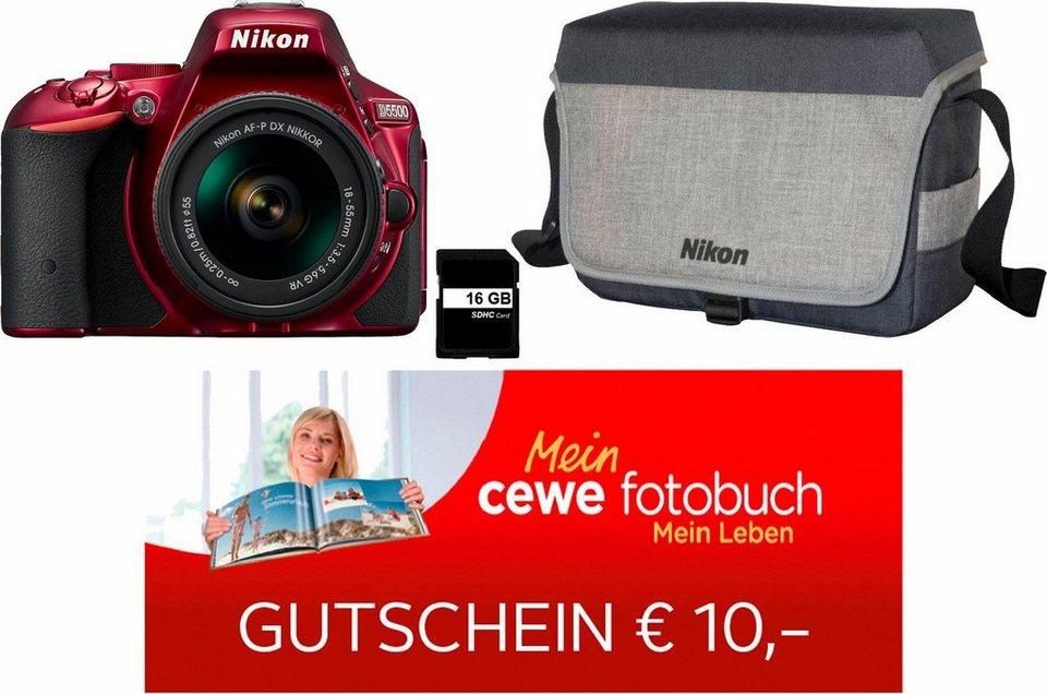 Nikon D5500 Kit Spiegelreflex Kamera, AF-P DX NIKKOR 18-55 mm 1:3,5-5,6 G VR Zoom, inkl. Tasche in rot