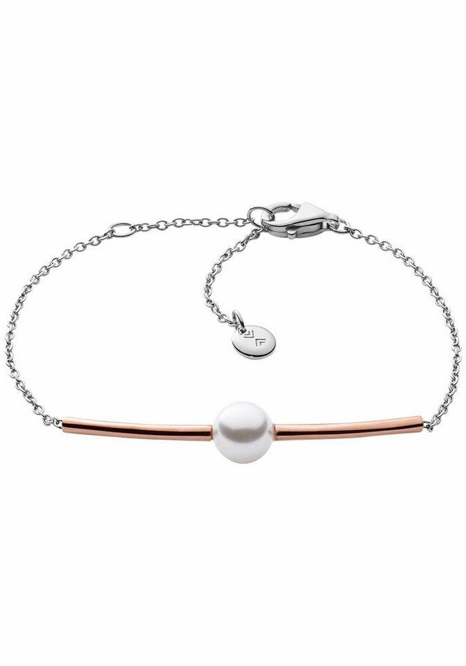 Skagen Armband »SKJ0918998« mit synthetischer Perle in silberfarben-roségoldfarben-weiß