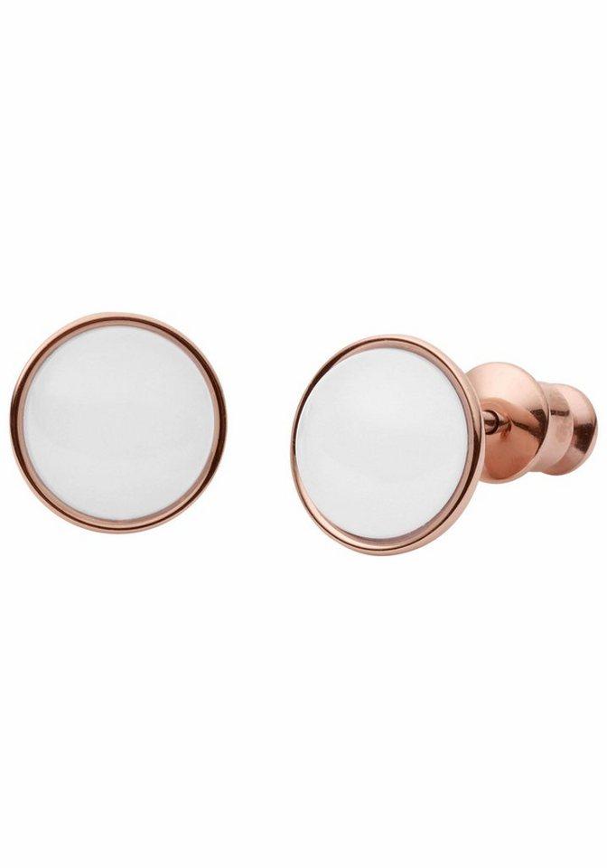 Skagen Paar Ohrstecker »SKJ0950791« mit Glasstein in roségoldfarben-weiß