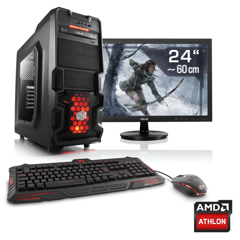 "CSL Gaming PC Set | Athlon X4 845 | GTX 1050 Ti | 8 GB RAM | 24"" TFT »Levitas T4280 Windows 10«"