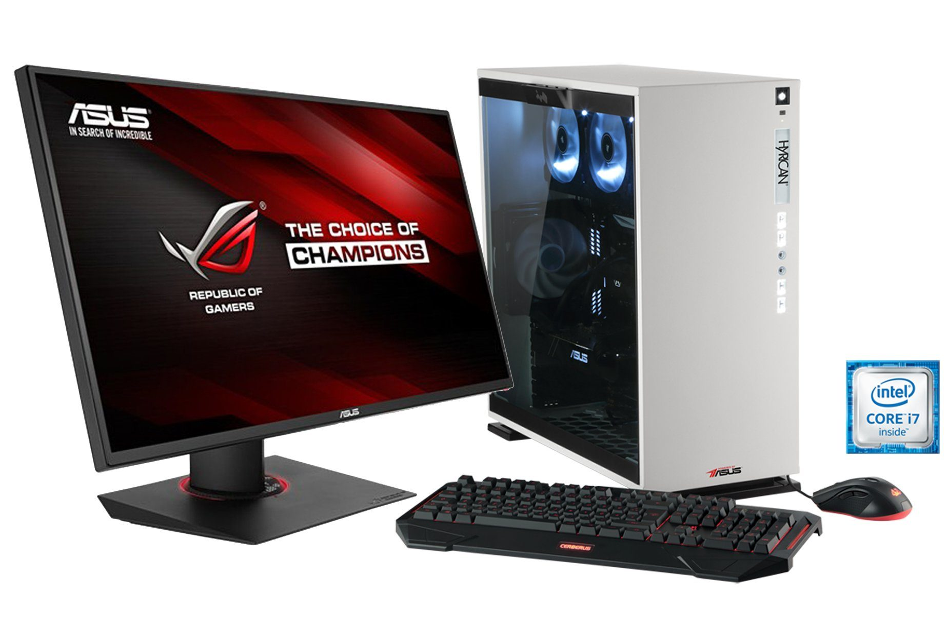 Hyrican Gaming PC Set Intel® i7-6900K GeForce® GTX1080 + Monitor »Elegance 1110 powered by ASUS «
