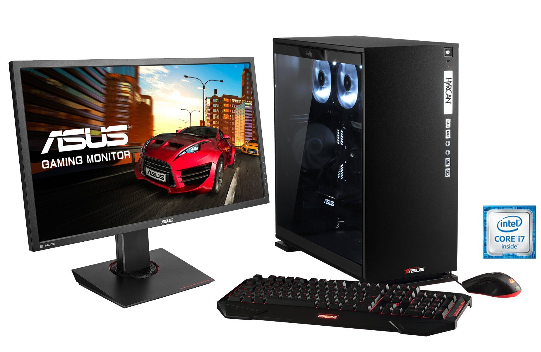 Hyrican Gaming PC Set Intel® i7-6700K GeForce® GTX1080 + Monitor »Elegance 1108 powered by ASUS «
