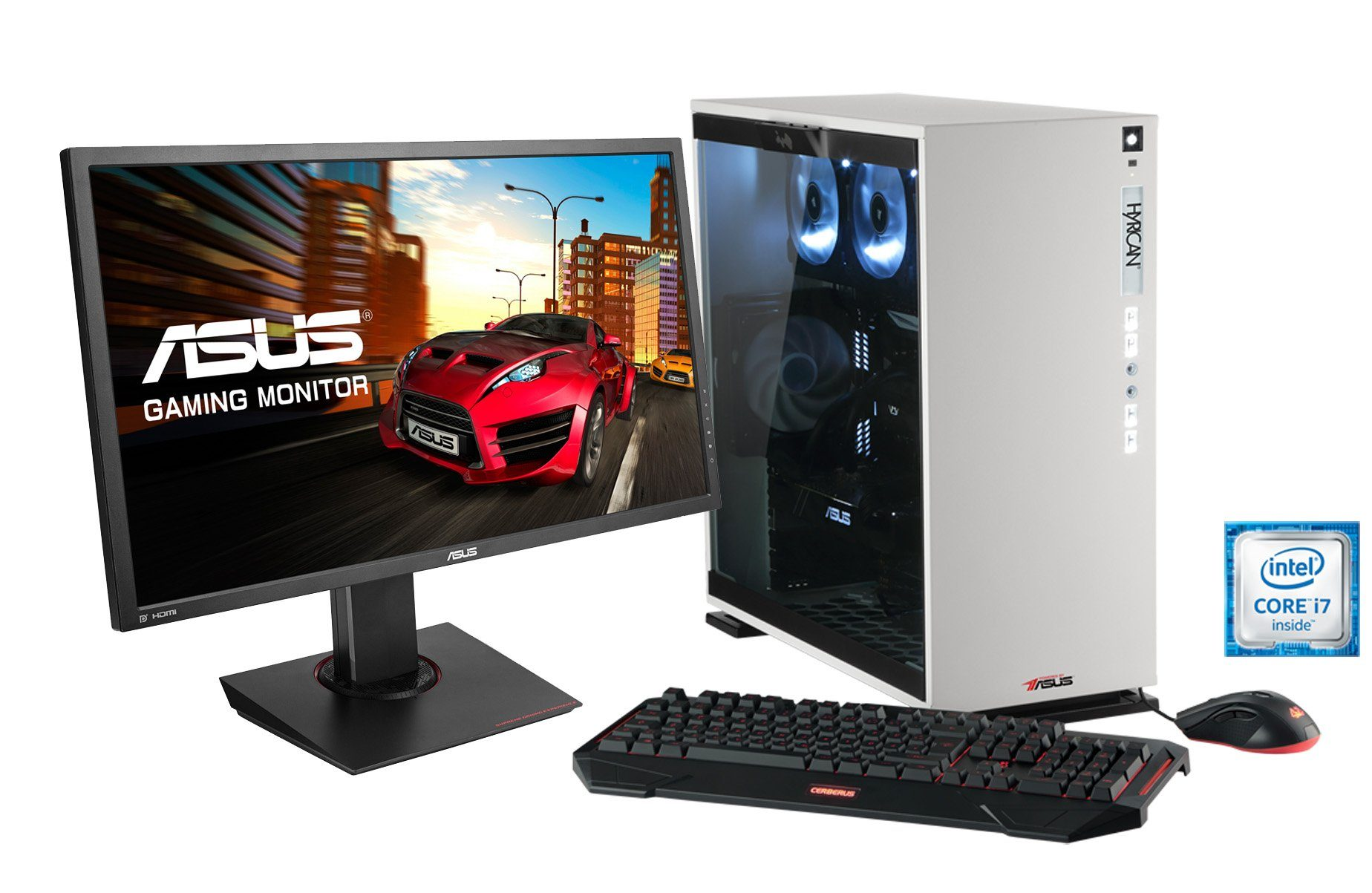 Hyrican Gaming PC Set Intel® i7-6700K GeForce® GTX1080 + Monitor »Elegance 1107 powered by ASUS «